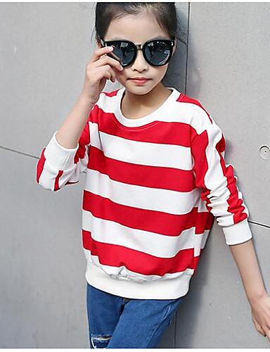 Mädchen T-Shirt Streifen Baumwolle Frühling Lange Ärmel Kurz