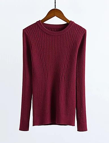 Damen Standard Pullover-Ausgehen Lässig/Alltäglich Einfach Solide Rundhalsausschnitt Langarm Andere Winter Herbst Mittel Dick