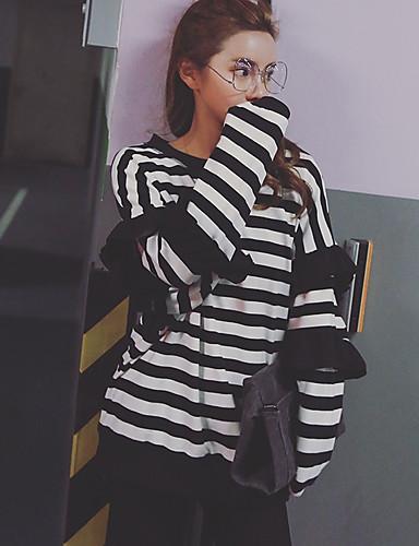 Damen Pullover Ausgehen Gestreift Rundhalsausschnitt Dehnbar Polyester ¾ Ärmel Frühling Herbst