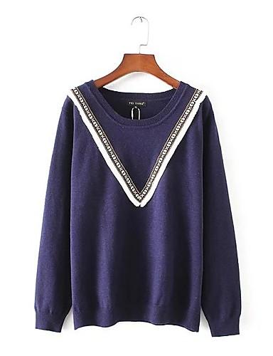 Damen Standard Pullover-Lässig/Alltäglich Ausgehen Einfach Solide Rundhalsausschnitt Langarm Andere Frühling Herbst Mittel Dünn