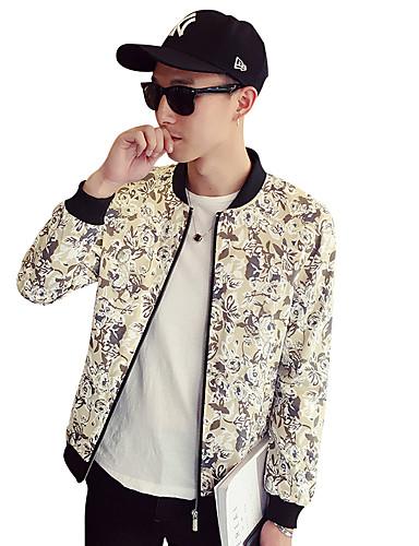 Herren Solide Druck Einfach Freizeit Alltag Jacke,Rundhalsausschnitt Frühling Herbst Langärmelige Standard Polyester