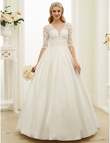 Ball Gown V Neck Floor Length Lace / Taffeta Made-To-Measure Wedding Dresses with Buttons / Ruched by LAN TING BRIDE® / Illusion Sleeve / See-Through / Beautiful Back
