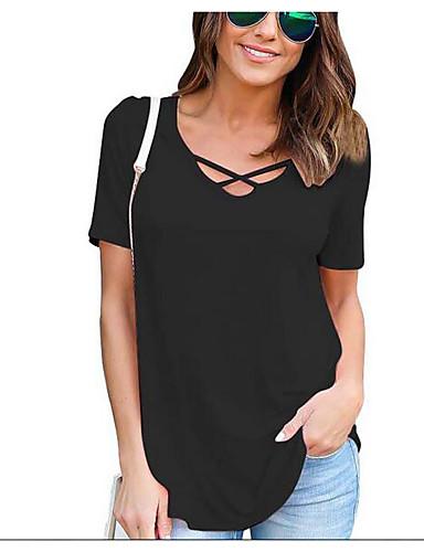 Damen Solide Druck Einfach Lässig/Alltäglich T-shirt,Rundhalsausschnitt Sommer Kurzarm Baumwolle