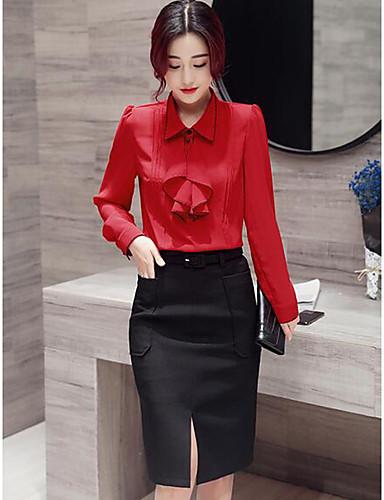 Damen Solide Einfach Lässig/Alltäglich Arbeit Shirt Rock Anzüge,Hemdkragen Frühling Lange Ärmel