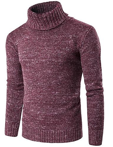 Herren Standard Pullover-Ausgehen Lässig/Alltäglich Solide Rollkragen Langarm Baumwolle Elasthan Herbst Winter Dick Dehnbar