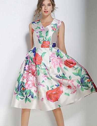 Damen Hülle Kleid-Party Ausgehen Blumen V-Ausschnitt Midi Ärmellos Polyester Sommer Mittlere Hüfthöhe Mikro-elastisch Mittel