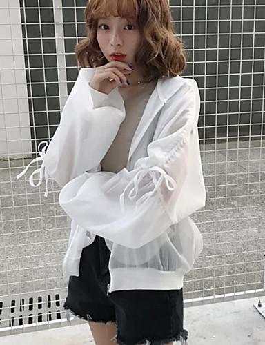Damen Geometrisch Einfach Lässig/Alltäglich Jacke,Mit Kapuze Sommer Lange Ärmel Standard Nylon