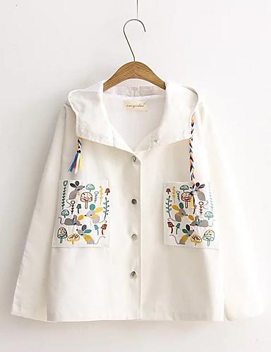 Damen Solide Druck Einfach Street Schick Ausgehen Lässig/Alltäglich Jacke,Mit Kapuze Frühling Herbst Langärmelige Standard Baumwolle