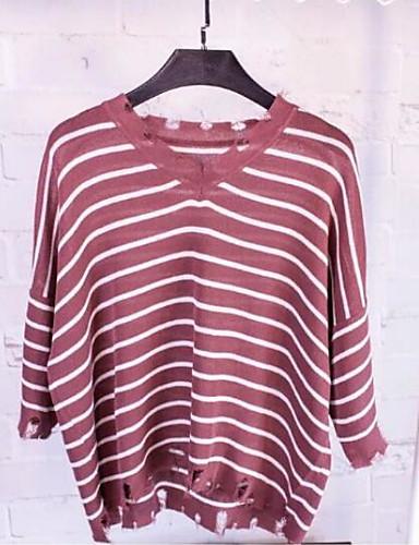 Damen Gestreift Einfach Ausgehen T-shirt,V-Ausschnitt 3/4 Ärmel Baumwolle