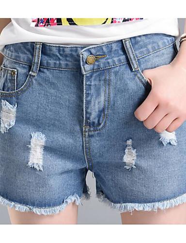 بنطلون جينزات شورتات مطاط صغير مستقيم مرتفع بسيط سادة نساء