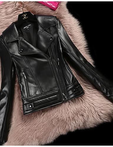 Damen - Solide Einfach Lederjacken, Hemdkragen / Winter