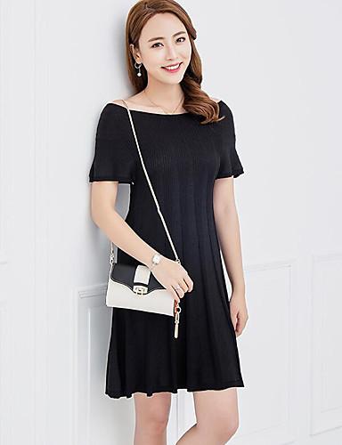Damen Standard Pullover-Lässig/Alltäglich Solide Bateau Kurzarm Leinen Winter Mittel Mikro-elastisch
