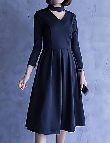 خريف نايلون كم طويل طول الركبة رقبة V سادة فستان غمد بسيط ذهاب للخارج نساء,وسط غير مطاطي وسط