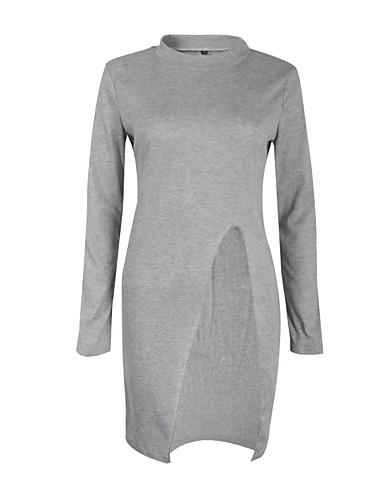 Damen Lang Pullover-Lässig/Alltäglich Ausgehen Sexy Einfach Solide Ständer Langarm Baumwolle Herbst Winter Dick Mittel Mikro-elastisch
