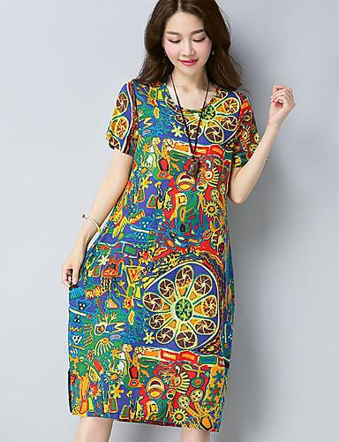 طول الركبة طباعة - فستان فضفاض قطن للمرأة / صيف