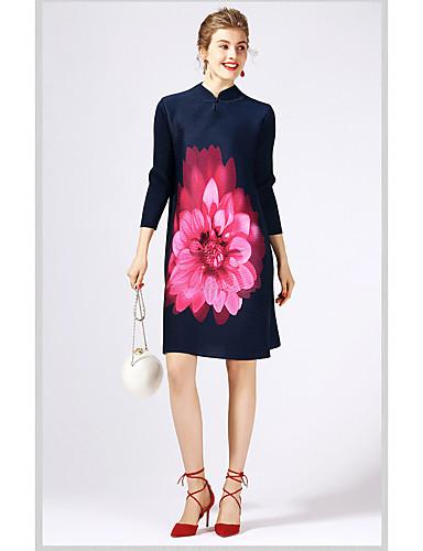 Damen Hülle Kleid-Ausgehen Niedlich Druck Ständer Übers Knie 3/4 Ärmel Polyester Herbst Mittlere Hüfthöhe Mikro-elastisch Mittel