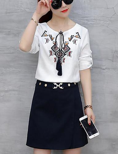 Damen Solide Druck Einfach Ausgehen Lässig/Alltäglich T-Shirt-Ärmel Rock Anzüge,Rundhalsausschnitt Sommer Kurzarm Unelastisch