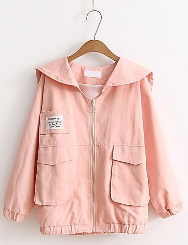 Damen Solide Buchstabe Einfach Chinoiserie Sport Ausgehen Lässig/Alltäglich Jacke,Schal Revers Frühling Herbst Langärmelige Standard
