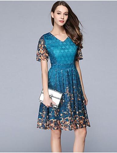 Damen A-Linie Kleid-Party Ausgehen Einfach Anspruchsvoll Blumen V-Ausschnitt Übers Knie Kurzarm Acryl Sommer Herbst Mittlere Hüfthöhe