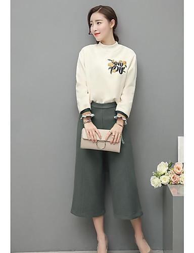 Damen Blumen Chinoiserie Lässig/Alltäglich T-Shirt-Ärmel Hose Anzüge,Rundhalsausschnitt Frühling Sommer Lange Ärmel