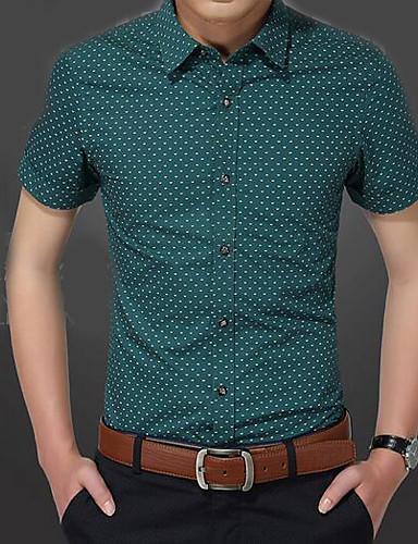 Herren Punkt Einfach Lässig/Alltäglich Hemd,Hemdkragen Kurzarm Baumwolle