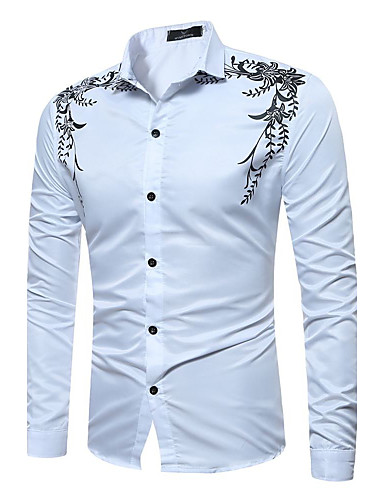 Men's Chinoiserie Cotton Shirt - Check Classic Collar / Long Sleeve