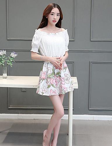 Damen Blumen Einfach Lässig/Alltäglich Bluse Rock Anzüge,Bateau Sommer Kurzarm Mikro-elastisch