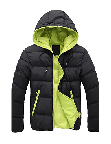 Men's Going out Casual Padded - Solid Colored / Color Block Hooded / Long Sleeve