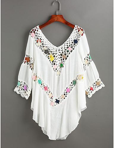 Damen Solide Einfarbig Einfach Lässig/Alltäglich Bluse,V-Ausschnitt Langarm Polyester