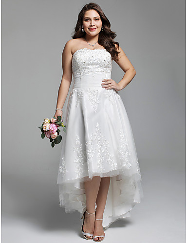 A-Line Strapless Asymmetrical Lace / Tulle Made-To-Measure Wedding ...