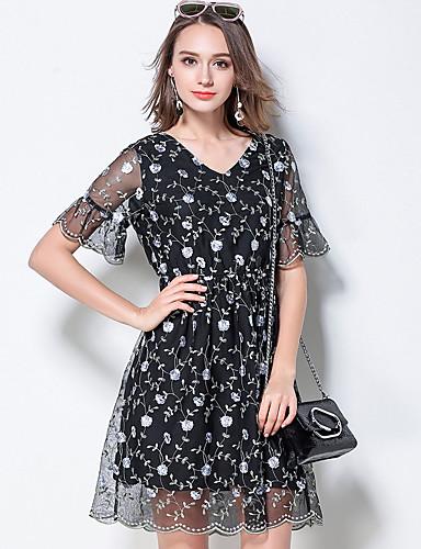 Damen Hülle Kleid-Ausgehen Niedlich Druck V-Ausschnitt Übers Knie Kurzarm Polyester Sommer Mittlere Hüfthöhe Mikro-elastisch Mittel