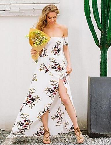 Damen Tunika Kleid-Ausgehen Lässig/Alltäglich Solide Blumen Schulterfrei Maxi Ärmellos Baumwolle Sommer Mittlere Hüfthöhe Mikro-elastisch