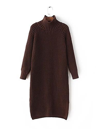 Damen Lang Pullover-Ausgehen Lässig/Alltäglich Einfach Solide Rollkragen Langarm Wolle Baumwolle Frühling Herbst Dünn Mittel