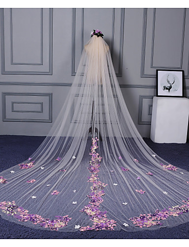 One-tier Cut Edge Lace Applique Edge Wedding Veil Cathedral Veils 53 Scattered Bead Floral Motif Style Appliques Lace Tulle
