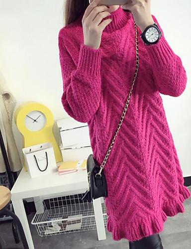 Damen Etuikleid Kleid-Lässig/Alltäglich Gestreift Rollkragen Übers Knie Langarm Baumwolle Leinen Herbst Mittlere Hüfthöhe Mikro-elastisch