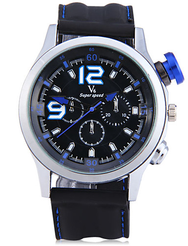 V6 Men's Sport Watch Wrist Watch Quartz Stopwatch Cool Large Dial Silicone Band Analog Casual Fashion Black - Black / Blue Silver / Red