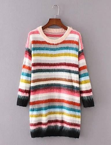 Damen Lang Pullover-Ausgehen Lässig/Alltäglich Einfach Gestreift Regenbogen Rundhalsausschnitt Langarm Wolle Baumwolle Polyester Frühling