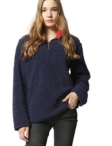 Damen Pullover Lässig/Alltäglich Solide Hemdkragen Unelastisch Wolle Lange Ärmel Winter