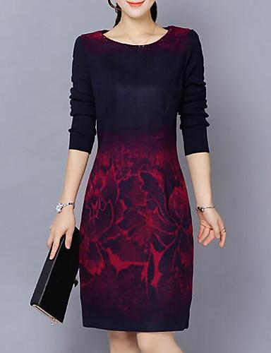 Women's Plus Size Casual Cotton Sheath Dress - Abstract Print / Slim