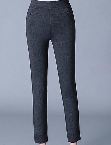 Damen Einfach Hohe Hüfthöhe Mikro-elastisch Chinos Schlank Hose Solide