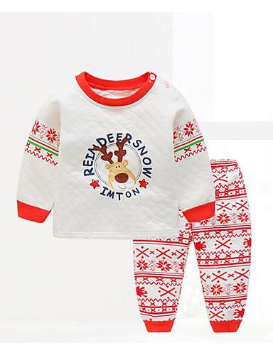 Baby Kinder Kleidungs Set Lässig/Alltäglich Geometrisch Baumwolle Frühling/Herbst Grün Rote