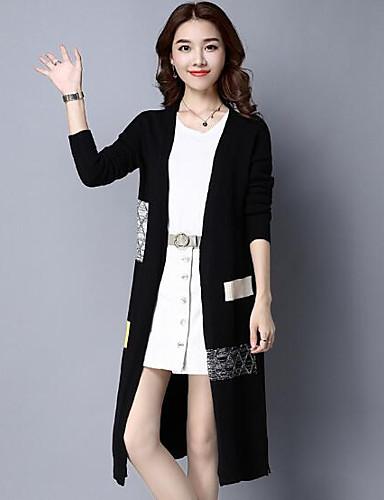 Damen Wolle Langarm Lang Strickjacke-Solide V-Ausschnitt