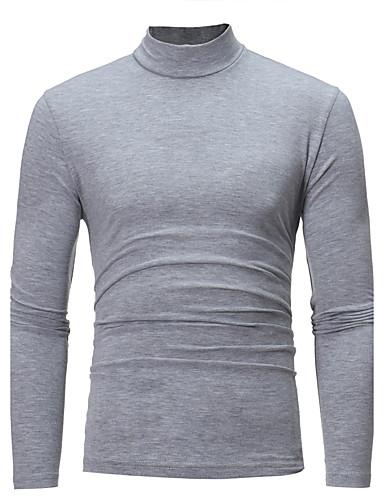 voordelige Heren T-shirts & tanktops-Heren Standaard Grote maten - T-shirt Katoen Effen Coltrui Slank Donkergrijs / Lange mouw / Herfst