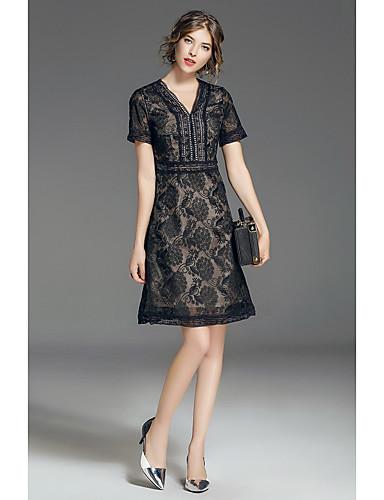 FRMZ Women's Lace Dress - Solid Colored V Neck