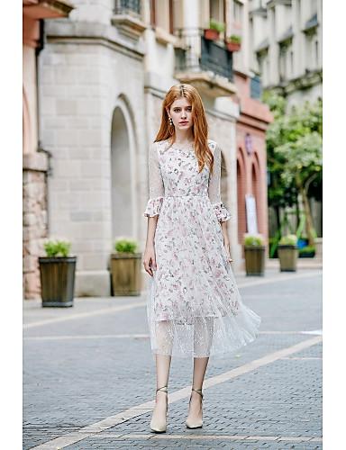 Damen Chiffon Kleid-Ausgehen Lässig/Alltäglich Niedlich Blumen V-Ausschnitt Midi 3/4 Ärmel Polyester Frühling Sommer Mittlere Hüfthöhe