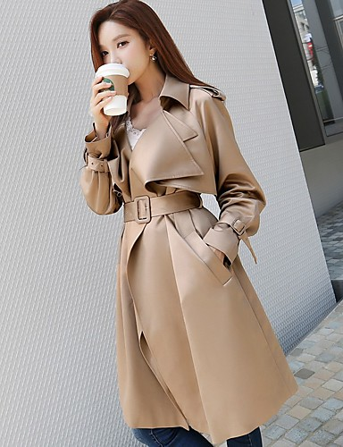 DABUWAWA Women's Work Vintage Active Long Trench Coat - Solid Colored Shirt Collar