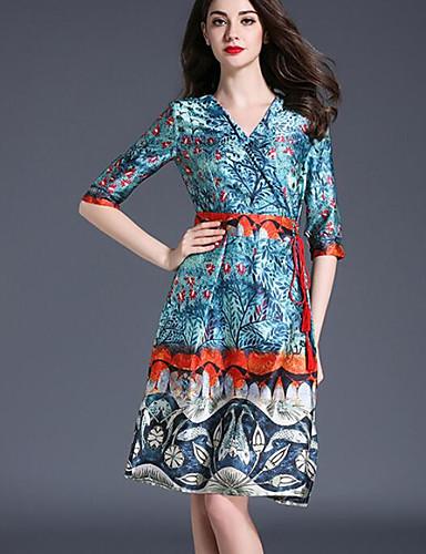 Damen Hülle Kleid-Lässig/Alltäglich Einfach Druck V-Ausschnitt Knielang Halbe Ärmel Modal Sommer Mittlere Hüfthöhe Mikro-elastisch Mittel