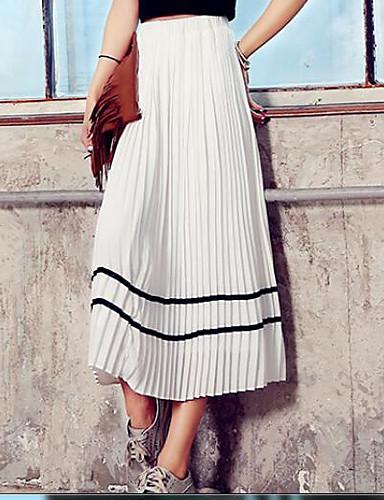 Damen Ausgehen Midi Röcke A-Linie einfarbig Sommer