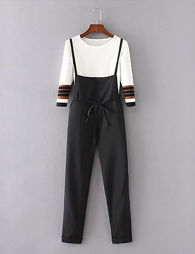 Damen Solide Einfach Niedlich Aktiv Ausgehen Lässig/Alltäglich T-Shirt-Ärmel Hose Anzüge,Rundhalsausschnitt Frühling Herbst ¾ Ärmel