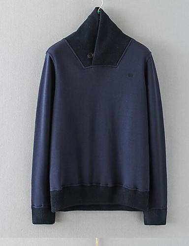 Herren Pullover Ausgehen Solide Rundhalsausschnitt Mikro-elastisch Baumwolle Langärmelige Winter Herbst